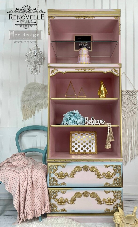 LARGE BOOKCASE PINK BEIGE AND BLUE WITH GOLD HIGHLIGHTS