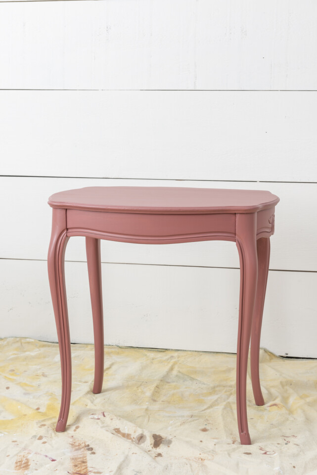 Painted end table in Rosey Pink