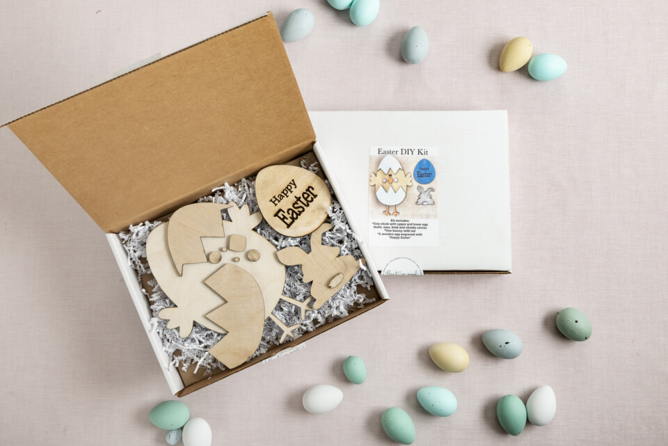Easter DIy kit in a box plain wood cut outs of chicken rabbit egg.