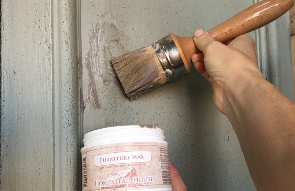 close of espresso wax on textured paint