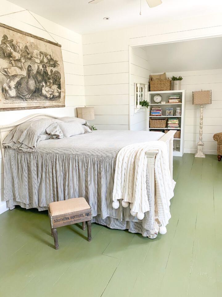 green painted floorboards
