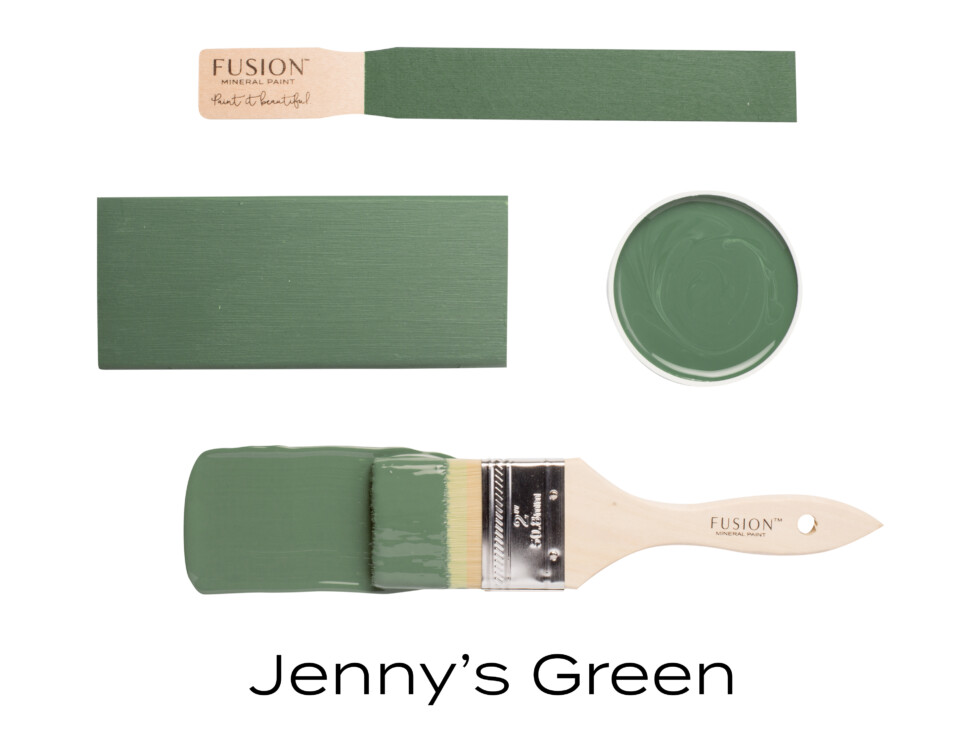 paint lid and swatch of colour Jenny's green