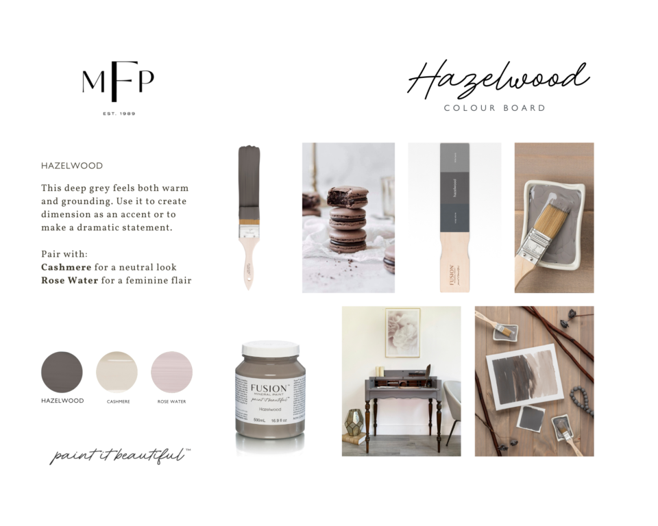 A comprehensive mood board featuring a paint swatch, a furniture piece, a stack of macaroons and more.